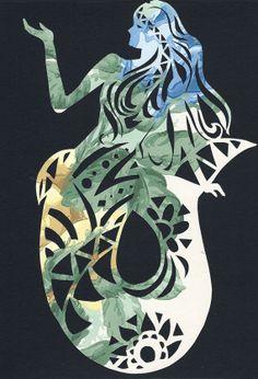 Hand made Mermaid papercutting