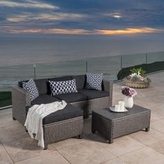 Shop for Outdoor Puerta 5-piece Wicker L-shaped Sectional Sofa Set with Cushions by Christopher Knight Home. Get free delivery at Overstock.com - Your Online Garden
