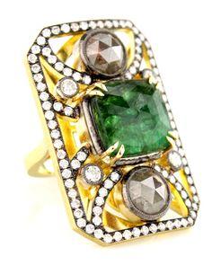Sylva & Cie Rough Diamond and Emerald Ring