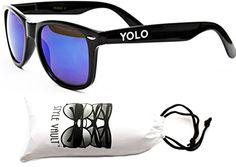 "P1003-vp Style Vault ""Yolo"" Wayfarer Sunglasses (WHT Black-blue mirror, mirrored)"