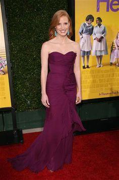 Jessica Chastain's in Oscar de la renta