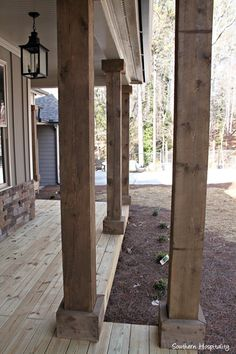 Front steps outdoors pinterest the doors front for Rustic porch columns