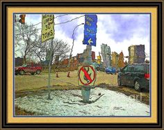 Black and gold frame and mat, of course! I Love Pittsburgh - Comical Road Signs And Winter Downtown View Framed Print By Shelly Weingart