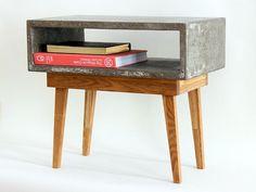 Mesita de cemento y madera - muebles y decoraci�n para el hogar - hecho a mano - en DaWanda.es