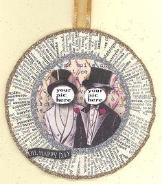 Same Sex Grooms  Gay Wedding  Wedding Ornament  by ONEINTHREEWOMEN