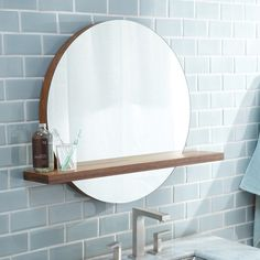 Features: -Solace collection. -Handcrafted solid woven strand bamboo. -Wall mounted. Shape: -Round. Mirror Type: -Bathroom / Vanity mirror. Orientation: -Both. Style (Old): -Contemporary. Shel