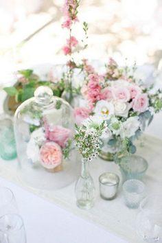 cluster spring wedding centerpiece / http://www.himisspuff.com/glass-cloche-bell-jar-wedding-ideas/4/
