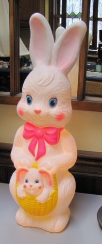 Vintage Easter Bunny with Baby Bunny in Basket Empire Blow Mold