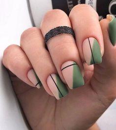 Green Nail Designs, Square Nail Designs, Nail Art Designs, Nails Design, Abstract Designs, Minimalist Nails, Geometric Nail Art, Pointy Nails, Nude Nails
