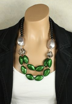 Big Peacock Green Beaded Statement Necklace, Emerald Glamor. $42.00, via Etsy.