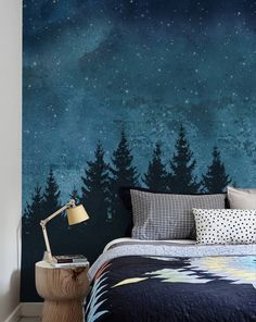 Costello Forest Trees Night Scene 4 Piece Panel Wall Mural Wallpaper for the wall design and ideas Wall Art Wallpaper, Mural Wall Art, Diy Wall Art, Wall Decor, Painted Wall Murals, Tree Wall Murals, Bedroom Wallpaper, Tree Wallpaper, Nature Wallpaper