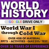 World History World War I to Cold War Second Semester Bundle. Here is what you will be getting in this great bundle that I have created. There are over 75 lessons included in this Giant Bundle of stuff. This is over 20 years of teaching experience!World History Second Semester GIANT BUNDLE 75 Lessons WWI WWII COLD WAR
