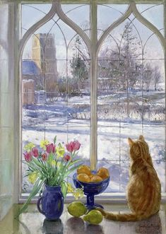 Astoria Grand Poster Schatten im Schnee und Katze Cat Window, Window Art, Art And Illustration, Canvas Wall Art, Canvas Prints, Big Canvas, Painting Prints, Art Prints, Painting Snow