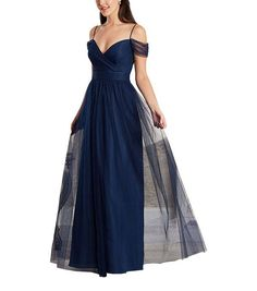 DescriptionAlfred Angelo Style8644LFulllength bridesmaid dressSweetheart neckline with spaghetti straps and off the shoulder draped sleevesGathered waistband and shirred skirtSoft Net