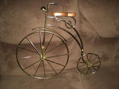 Vintage Penny Farthing Gold Tone Model 3D High-Wheel Bicycle Wall Art/Sculpture