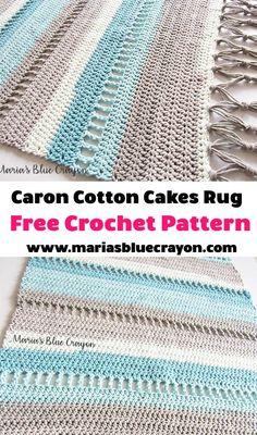 Coastal Indoor Rug - Free Crochet Pattern made with Caron Cotton Cakes - Maria's Blue Crayon - - Sie Decken Caron Kuchen Crochet Afghans, Crochet Doily Rug, Manta Crochet, Knit Or Crochet, Crochet Crafts, Free Crochet, Crochet Home Decor, Cotton Crochet Patterns, Cotton Cake