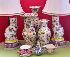 English Chintz Ware Vases, Staffordshire Cat lamps and MacKenzie Childs Honeymoon ... Unique English examples of Floral Transfer Art Pottery Vintage | eBay showandtellchick-bstar on ebay