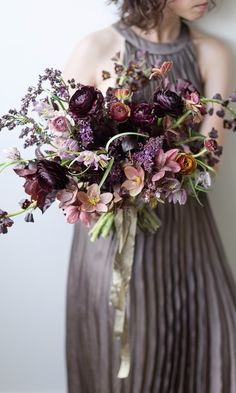 Purple Wedding Flowers shades of purple moody wedding bouquet Winter Wedding Flowers, Fall Wedding Bouquets, Bride Bouquets, Bridal Flowers, Flower Bouquet Wedding, Floral Bouquets, Floral Wedding, Purple Bouquets, Deep Purple Wedding