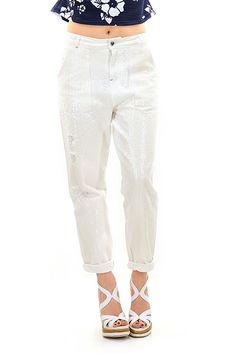 Twin Set Jeans - Jeans - Abbigliamento - Jeans in cotone con applicazione di paillettes sulla lunghezza. Tasche laterali applicate. - GARDENIA - € 296.00