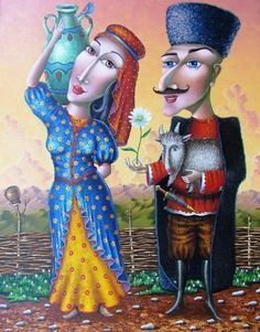 Zurab Martiashvili was born in 1982 in Georgia. Currently he is living and working in Ukraine. His unique painting styl. Unique Paintings, Colorful Paintings, Watercolor Paintings, David, Art Academy, Naive Art, Illustrations, Russian Art, Artists