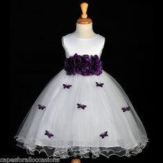 WHITE PLUM PURPLE BUTTERFLIES PAGEANT FLOWER GIRL DRESS