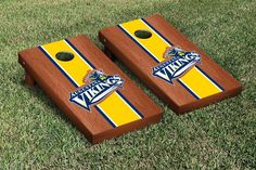 Cornhole Set - Augustana College Augie Vikings Rosewood Stained Stripe Version