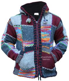 Made from wool and fully fleece lined inside. This hooded jacket zips up with two side pockets. Knitted in multiple patchwork section with mix colors. As each jacket produced is unique,colors might be slightly different than the photo. Casual Sweaters, Vintage Sweaters, Boho Hippie, Loose Sweater, Men Sweater, Winter Hoodies, Jackets Online, Hoodie Jacket, Pulls