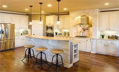 Beautiful kitchen from our Village Builders' Provence Collection in Texas!  | followpics.co (I like the layout of the kitchen)