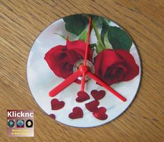 Red Roses CD Desk or Wall Clock by Klicknc on Etsy