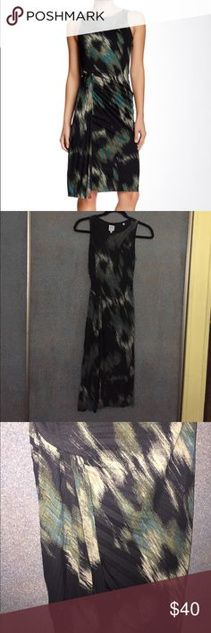 Halston Heritage Dress Sz 2 Beautiful brushstroke abstract print dress by Halston Heritage Sz 2. Never worn, tag attached. Pleated detail throughout with a side slit detail. Lots of stretch, unfinished bottom hem, perfect date night dress Halston Heritage Dresses