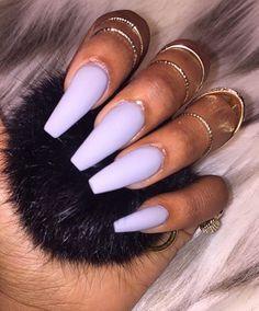 Purple Matte Coffin Nails