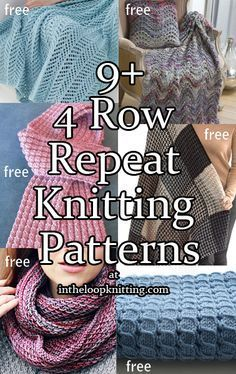 4 Row Repeat Knitting Patterns. Most patterns are free