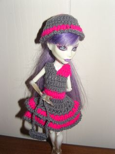 Monster High Doll Clothes Dress Purse Hat Accessories $5 FREE SHIP Crocheted