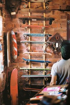 Interior decorating. Fashion. Design. Ladder. Longboarding. Create a ladder to a loft using the boards you love and use.