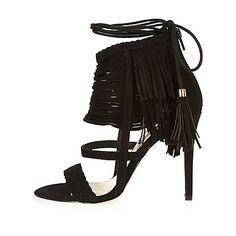 Black suede fringed stiletto heels 77,00 €
