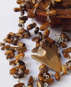 Brass arrow head, arrow pendant, tigerseye necklace, tigerseye drops, beaded necklace, sterling silver, gem necklace, boho style by graciedot on Etsy