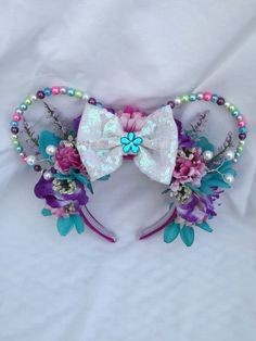 Excited to share the latest addition to my shop: Pastel beaded ears Disney Diy, Disney Trips, Disney Mickey Ears, Minnie Mouse, Mouse Ears, Crowns, Disneyland, Headbands, Hair Accessories