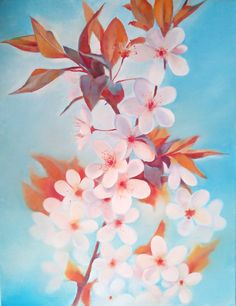 cherry blossoms, oil on canvas 35x50