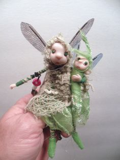 one of a kind pose-able pixie fairy .. art doll polymer clay by Dinkydarlings