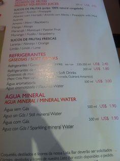 Bebidas – Preços | Fantasia MSC 2012