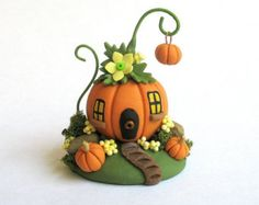 Miniature  Whimsical  Fairy Pumpkin House with Pumpkin Bobble OOAK by C. Rohal