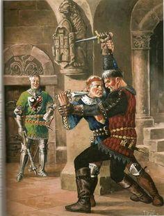 """BERTRAND DU GUESCLIN, 13201380.- Testigo de la lucha                                       a muerte de Pedro I """"El Cruel """", con su hermanastro , el bastardo                                      Enrique de Trastamara."""