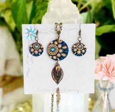 Mandala Jewelry Set, Hand Painted Bohemian Jewelry Set, Teal and Gold with Swarovski Crystal and Citrine Mandala Dots, Mandala Design, Painting Snowflakes, Dot Art Painting, Mandala Painting, Mandala Jewelry, Teal And Gold, Bohemian Jewelry, Hand Painted