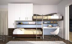BADROOM - centri camerette specializzati in camere e camerette per ragazzi - cameretta con letti pensili e armadio a ponte