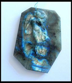 278.5Ct Natural Labradorite Gemstone Muse Statues,Gemstone Artcraft,Jewelry