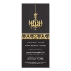 Chandelier Cocktail Party Invite (black/gold) #cocktailparty #partyinvitations #cocktailpartyinvitations
