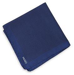 Navy Silk Pocket Square by Hugo Boss. Buy for $60 from Hugo Boss