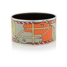 Pre-Owned Hermes Quadrige Extra Wide Printed Enamel Bracelet (695,760 KRW) ❤ liked on Polyvore featuring jewelry, bracelets, green, enamel bangle, pre owned jewelry, hermes bangle, multicolor jewelry and multi colored jewelry