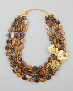 """Agate & Tiger\'s Eye Bib Necklace by Jose & Maria Barrera at Neiman Marcus. 17""""+3"""" extender $715 24k gold pate 3 pave nuggets (austrian) 4 strands of faceted tigers eye and brown agate"""