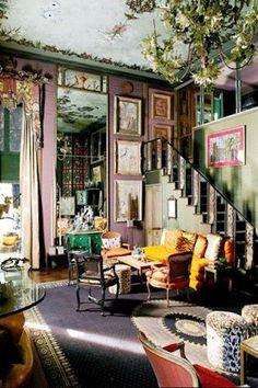 tony duquette design living room, pastel tones, jewel tones, vintage, eclectic